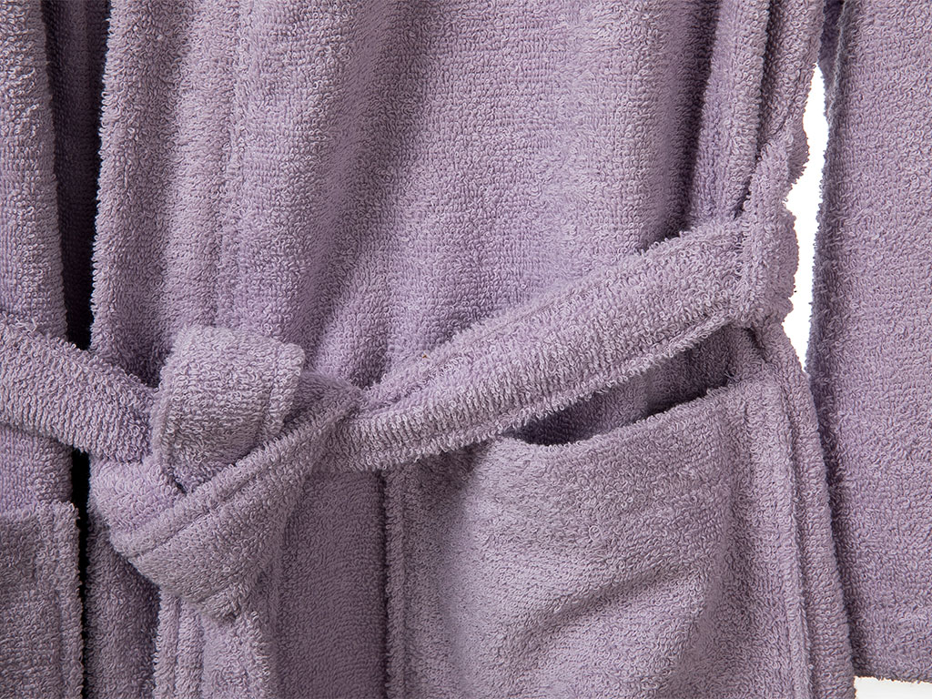 Plain Cotton Women's Bathrobe L Light Purple