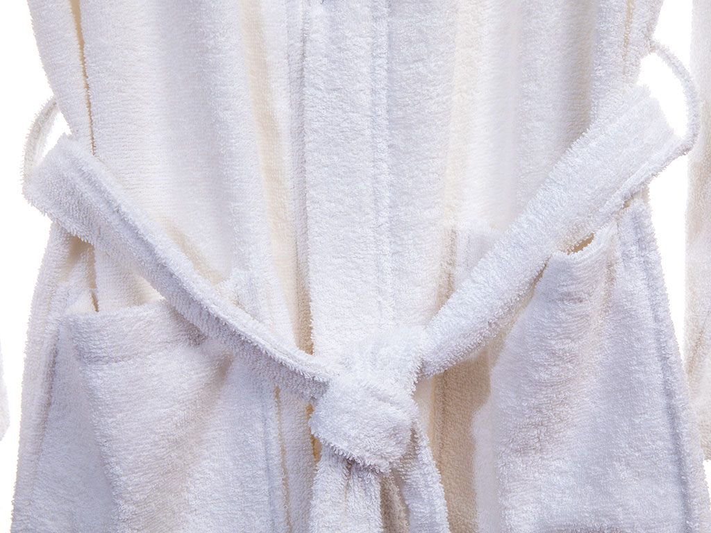 Plain Cotton Men's Bathrobe S White