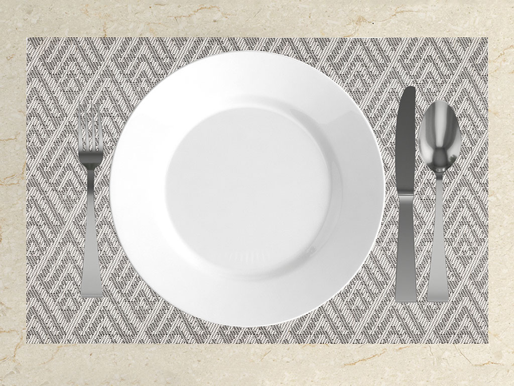 Jelly Pvc Place Mat 4 Piece 30x45 Cm White-Gray