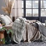 Folk Floral Cotton Satin Duvet Cover Full Set Double Size 200x220 Cm Sage Green