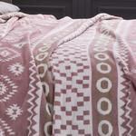 Folk Cotton Blanket Single Size 150x200 Cm Pink