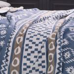 Folk Cotton Blanket Double Size 200x220 Cm Blue