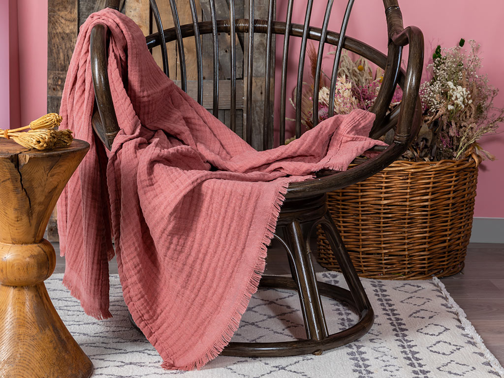 Pure Folk Muslin Chair Shawl 120x160 Cm Cinnamon