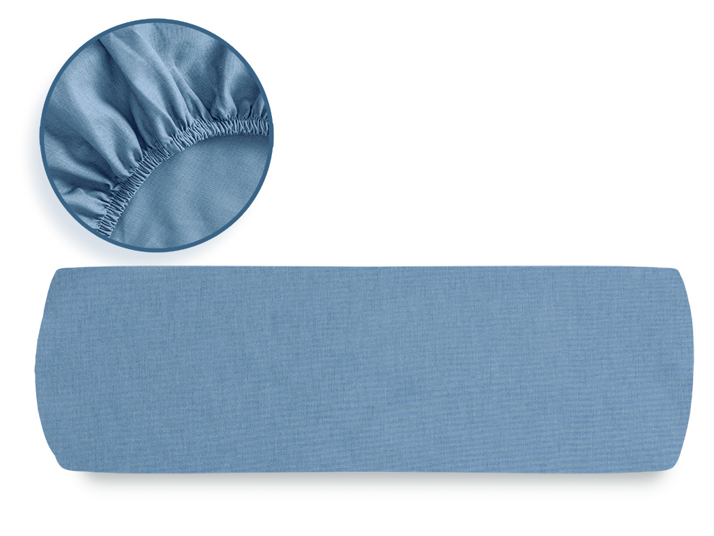 Plain Cotton Fitted Bed Sheet King Size 180x200 Cm Blue
