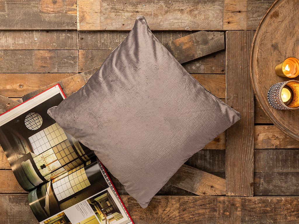 Corrosion Effect Velvet Cushion Cover 45x45 Cm Anthracite