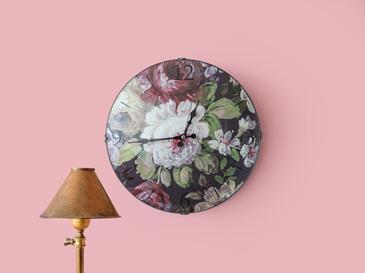 Floral Rose Wall Clock 35 Cm Pink