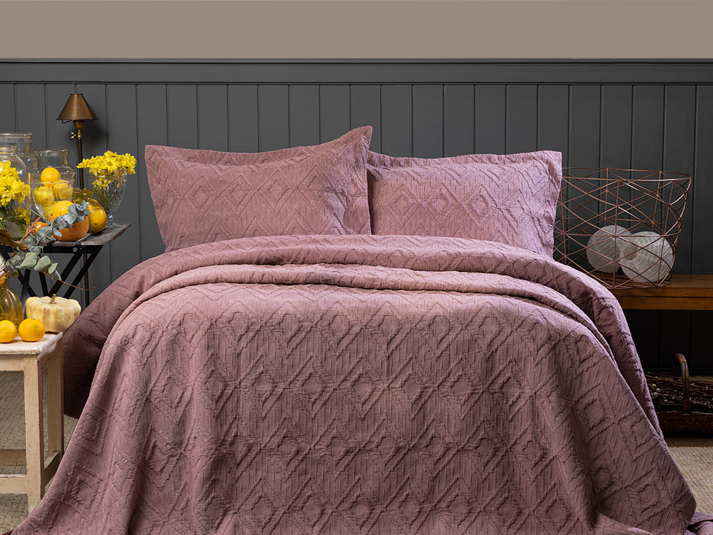 Diamond Chic Stonewash Multipurpose Bedspread Set Double Size 240x250 Cm Cinnamon