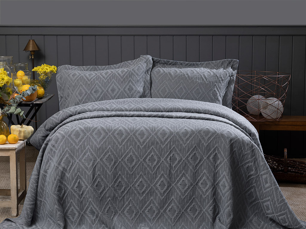 Diamond Chic Stonewash Multipurpose Bedspread Set Double Size 240x250 Cm Anthracite