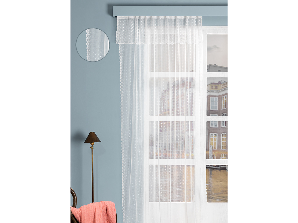 Mini Dots Tulle Curtain 145x265 Cm Ecru