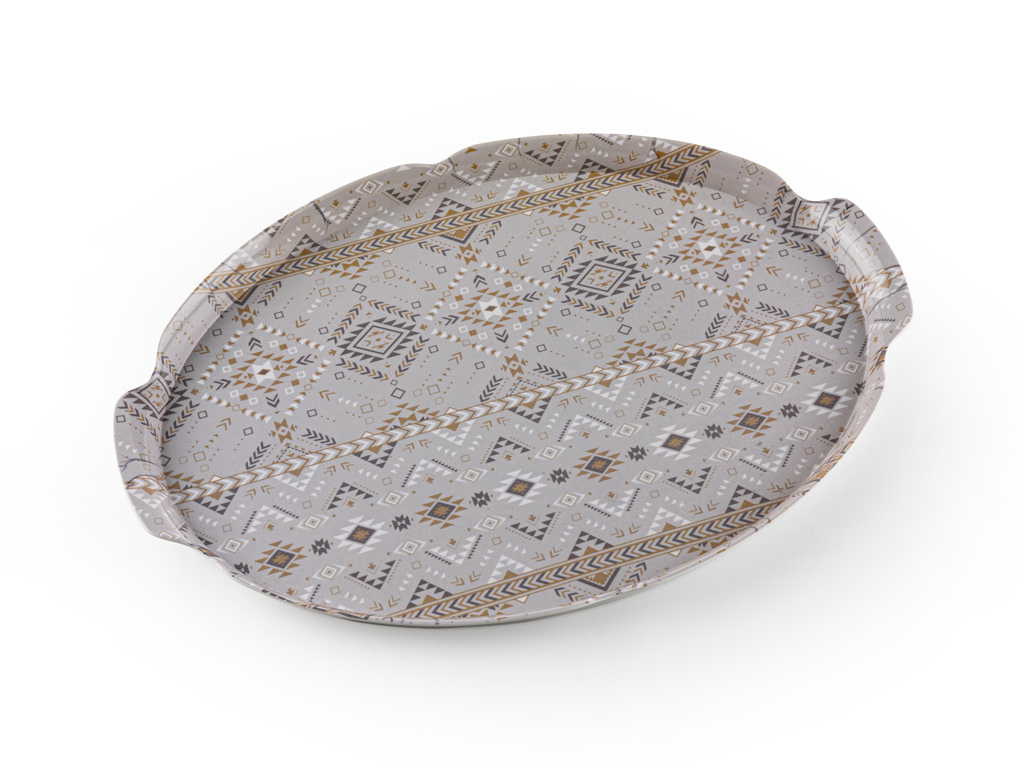 Ethnic Melamine Oval Tray 43x29 Cm White - Gray