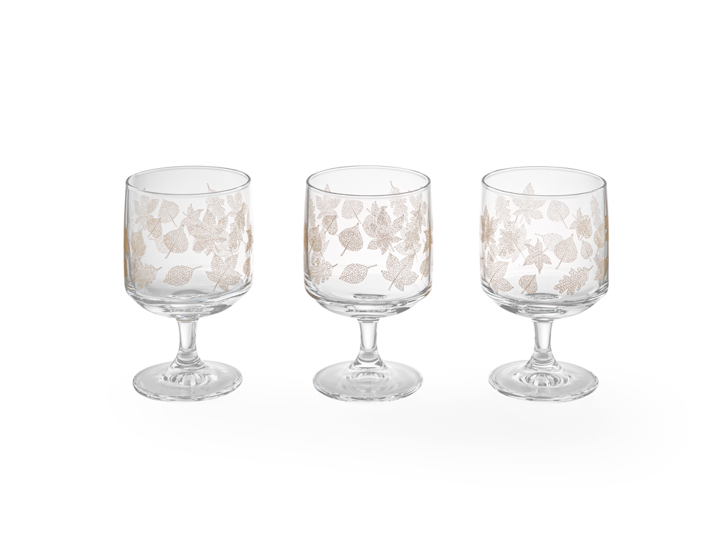 Allure Glass Cup 3 Piece 300 Ml Light Gold