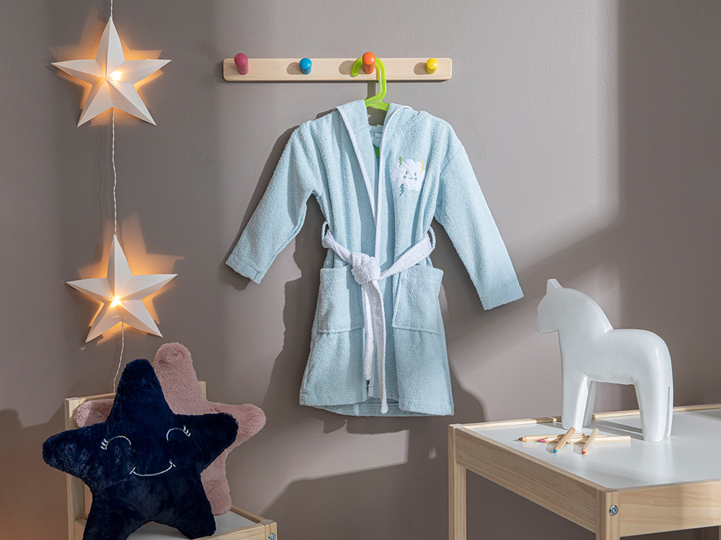 Sweet Clouds Kids Cotton Bathrobe 4-6 Years Seledon