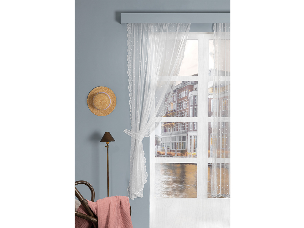 Little Flower Tulle Curtain 300x200 Cm Ecru