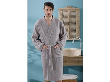 Plain Cotton Men's Bathrobe S-M Dark Gray