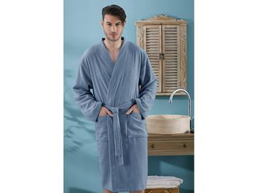 Plain Bathrobe S-M Indigo Blue