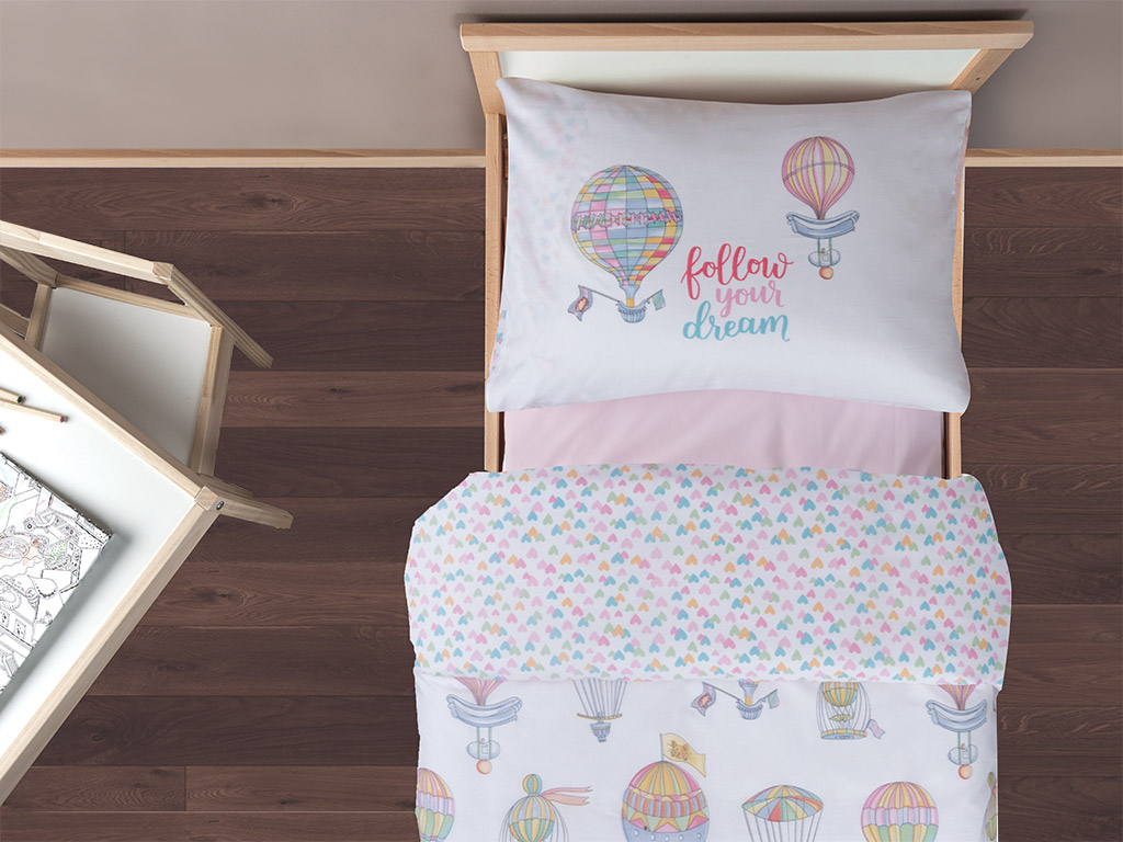 Lovely Balloon Set Complet Lenjerie Copii 160x220 Cm Roz