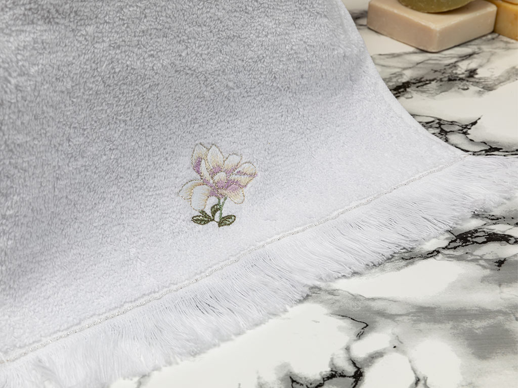 Magnolia Embroidered Hand Towel 30x45 Cm White-Lilac
