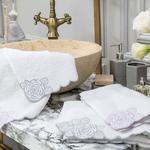 Big Flower Embroidered Hand Towel 30x45 Cm White-Lilac