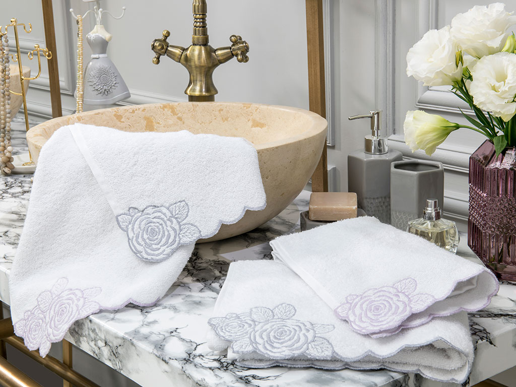 Big Flower Embroidered Hand Towel 30x45 Cm White-Gray