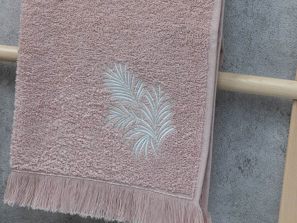 Palm Trees Embroidered Face Towel 50x80 Cm Nude