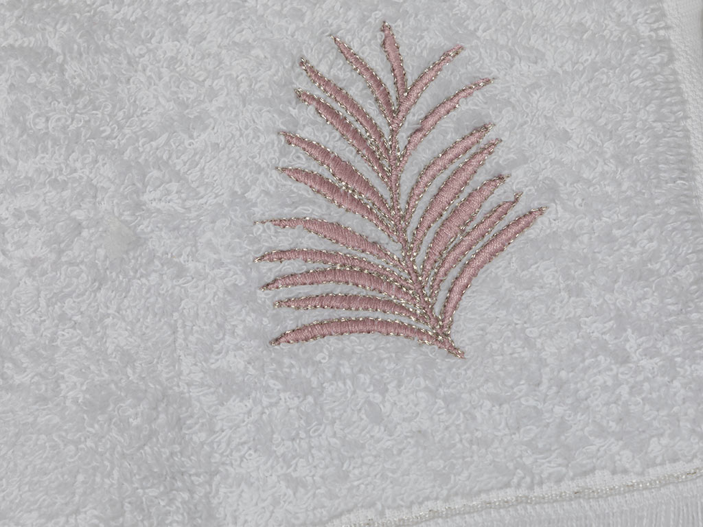 Palm Trees Embroidered Hand Towel 30x45 Cm White