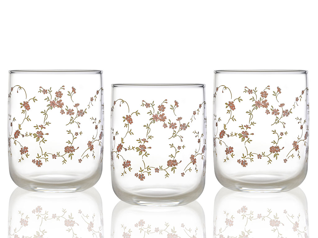Pinky Rose Juice Glass 3 Piece 270 Ml Transparent