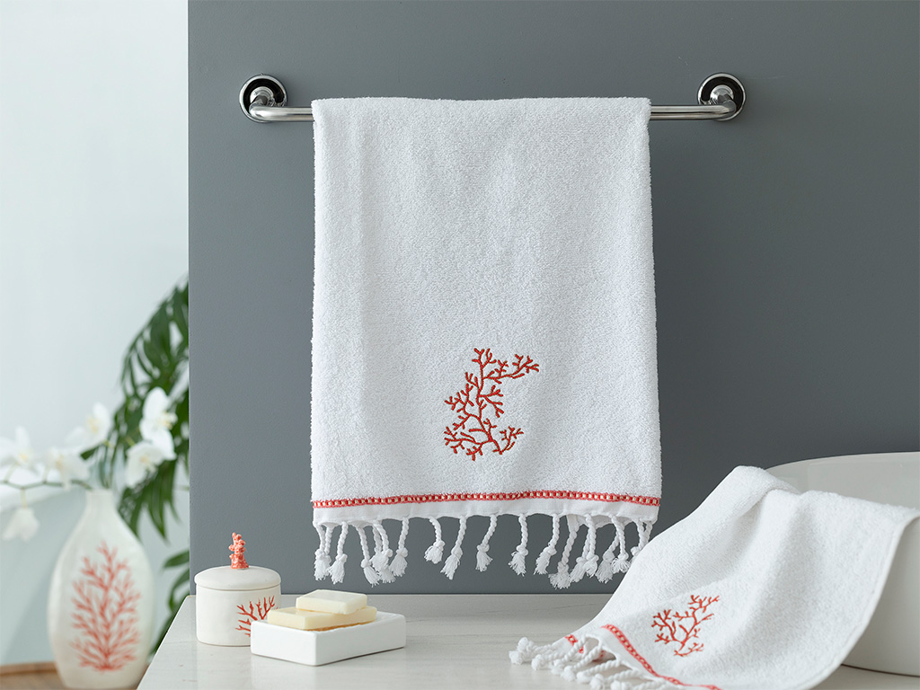Deep Sea Embroidered Face Towel 50x80 Cm Coral
