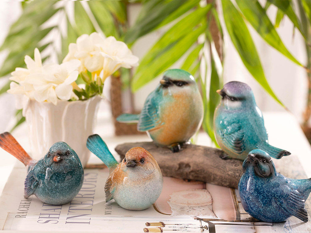 Bird Talk Decorative Object 11,5x4,8x6,8 Cm Turquois