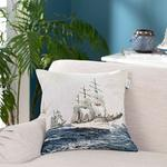 Sailboats Cushion Cover 45x45 Cm Blue