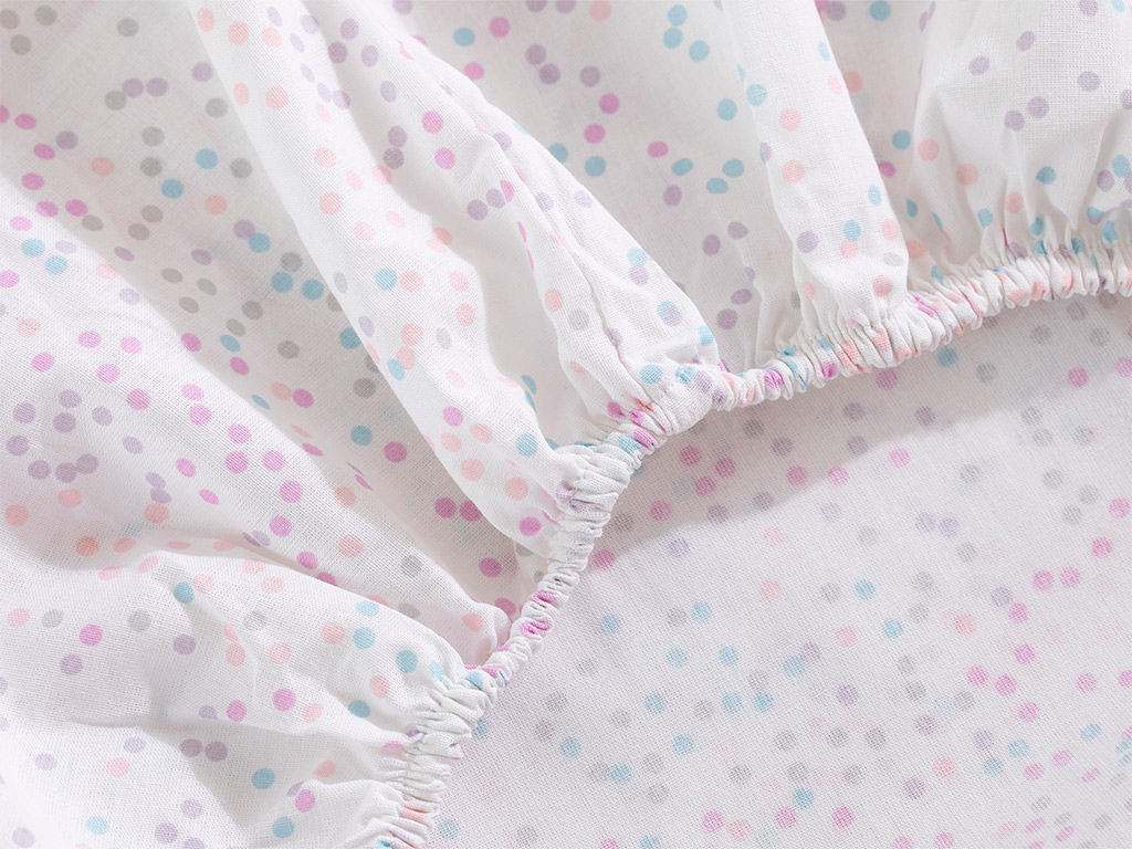 Mini Dots Cotton Baby Fitted Bed Sheet 70x140 Cm Pink