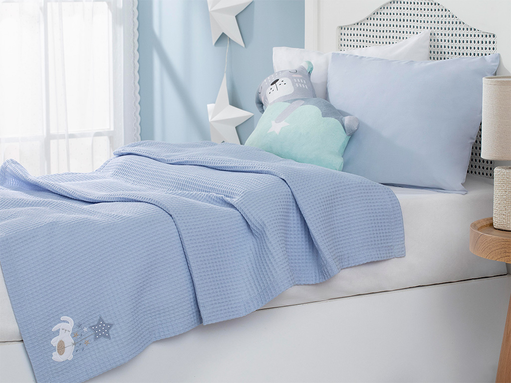 Sleepy Rabbit Baby Summer Blanket 80x120 Cm Blue