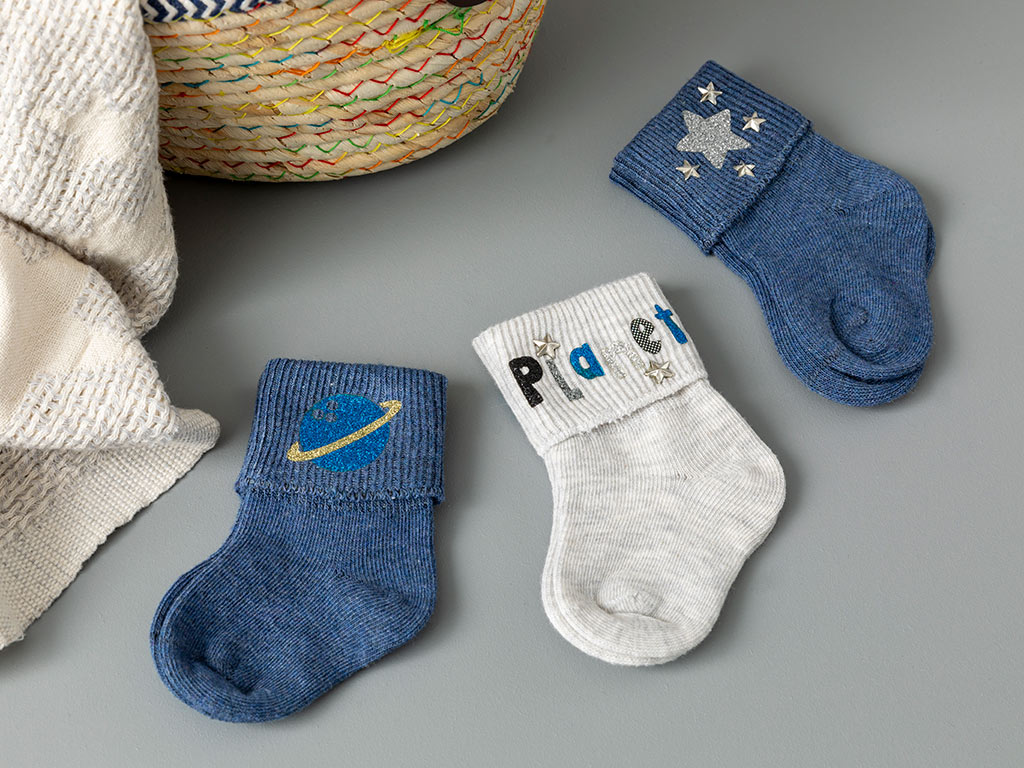Planet Baby Socks 3 Piece 6-12 Month Navy Blue