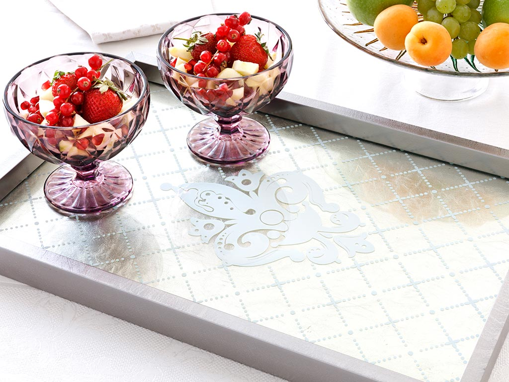 Arya Decorative Glass Tray 31x46 Cm Gold