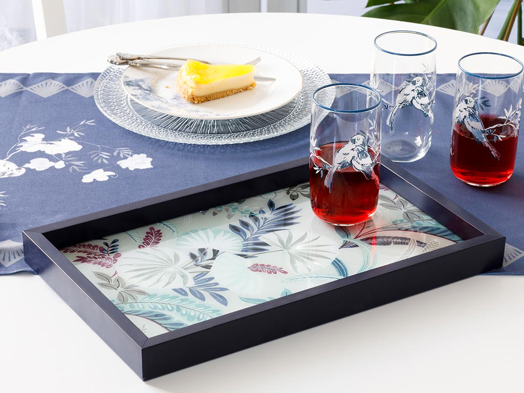 Pureness Decorative Glass Tray 22x37 Cm Navy Blue