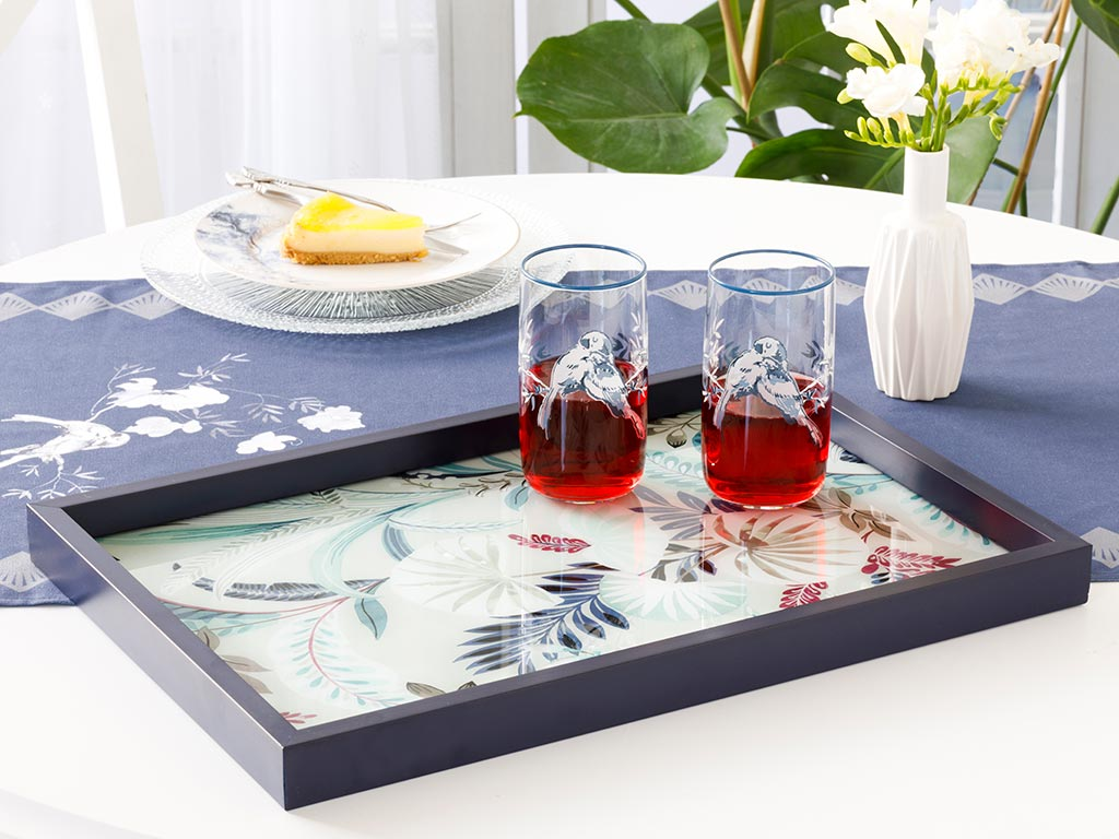 Pureness Decorative Glass Tray 31x46 Cm Navy Blue