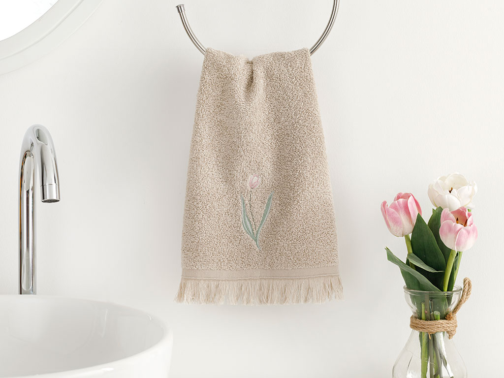 Tulip Garden Embroidered Hand Towel 30x40 Cm Dark Beige