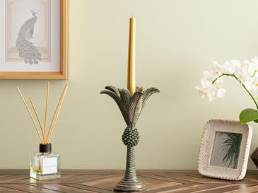 Chic Palm Candlestick 15,7x15,7x24,5 Cm Brown-Green