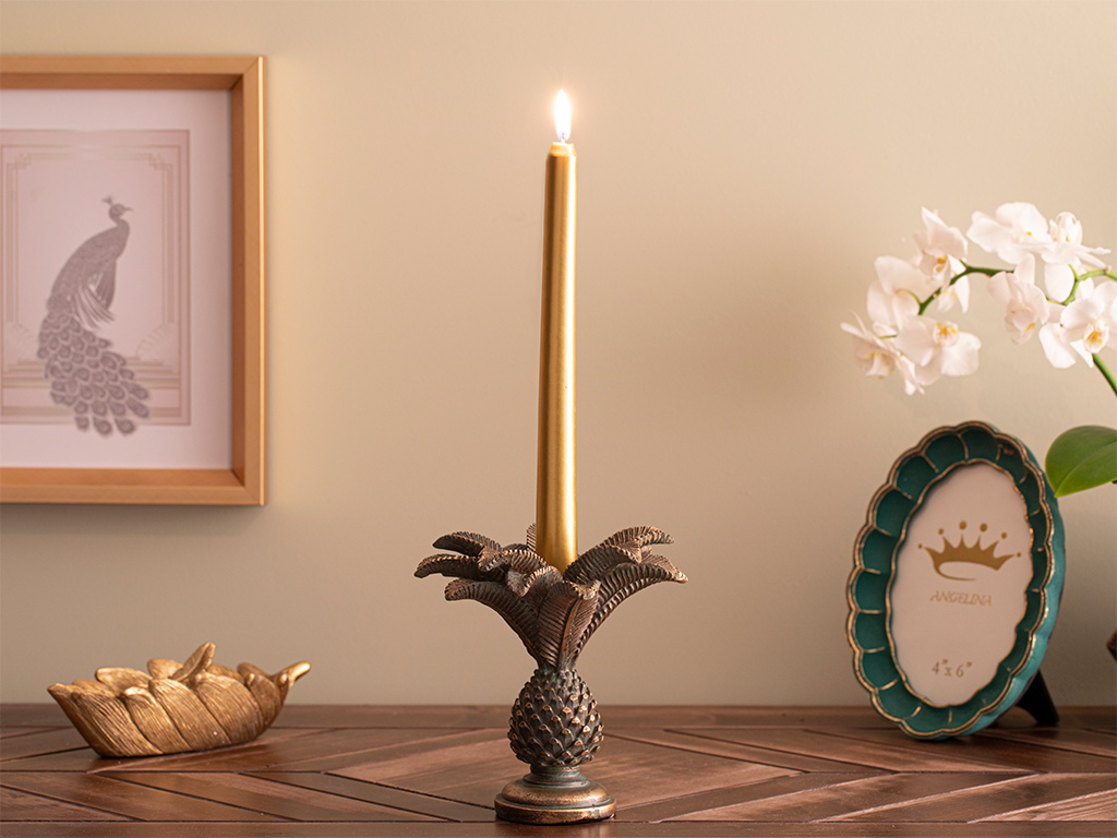 Palmere Candlestick 14,5x14,5x14,5 Cm Coffee-Green