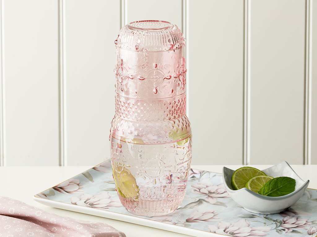 Pure Water Bottle 8x8x21 cm Pink