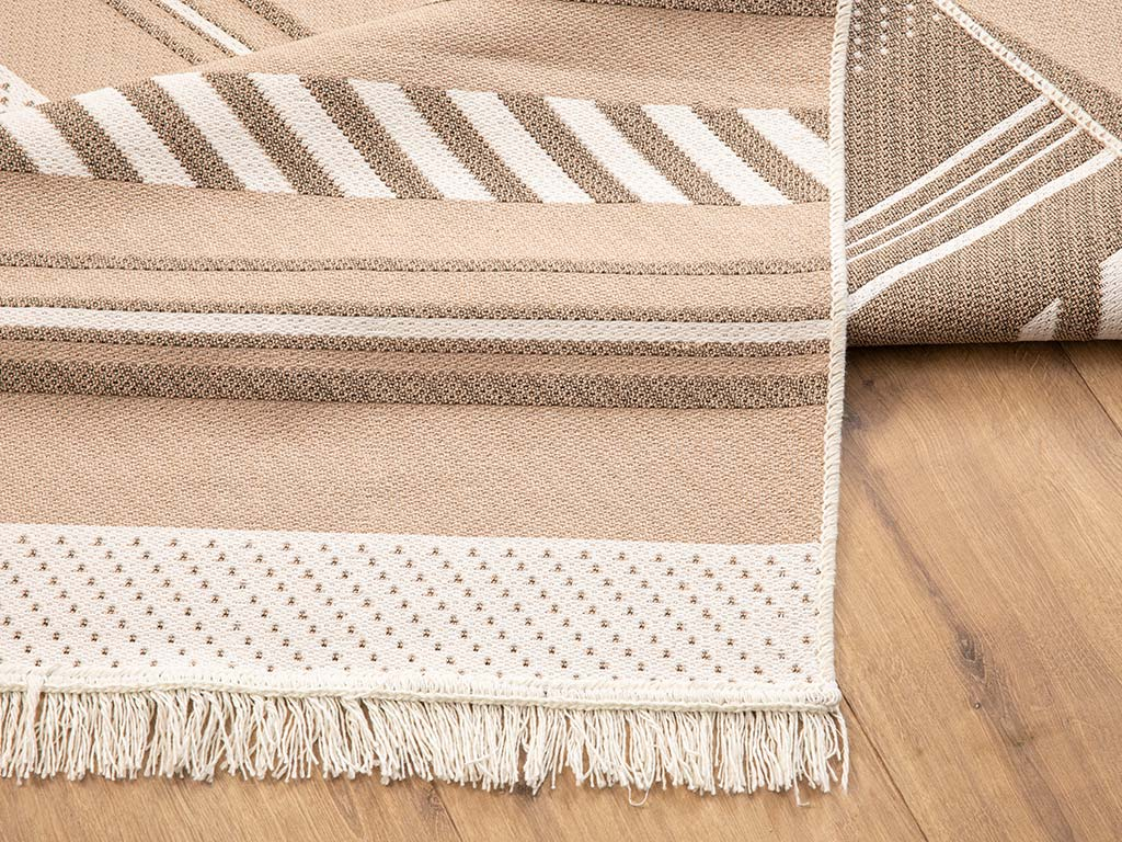 Browny Cotton Rug 120x180 Cm Beige- White