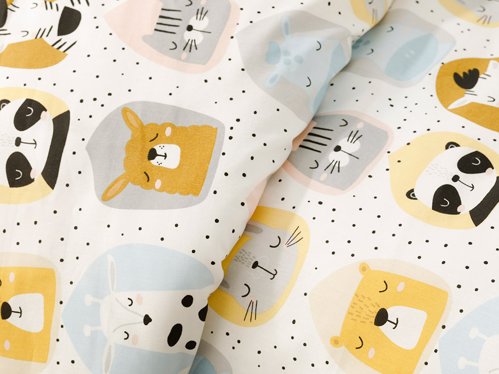 Sleepy Friends Set Complet Lenjerie Bebe 100x150 Cm Alb
