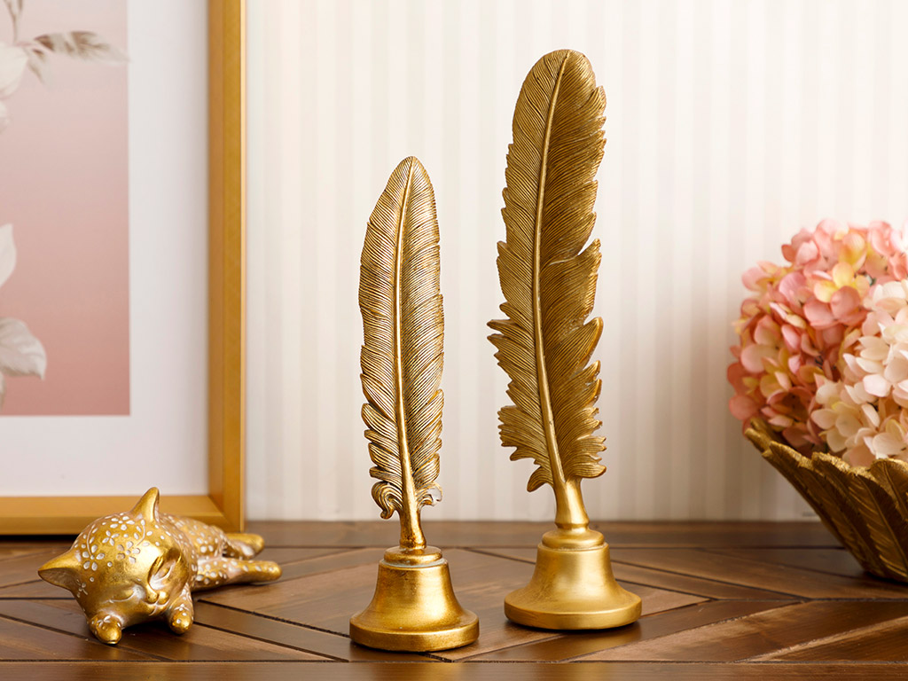 Feather Decorative Object 17x8x5,3 Cm Gold
