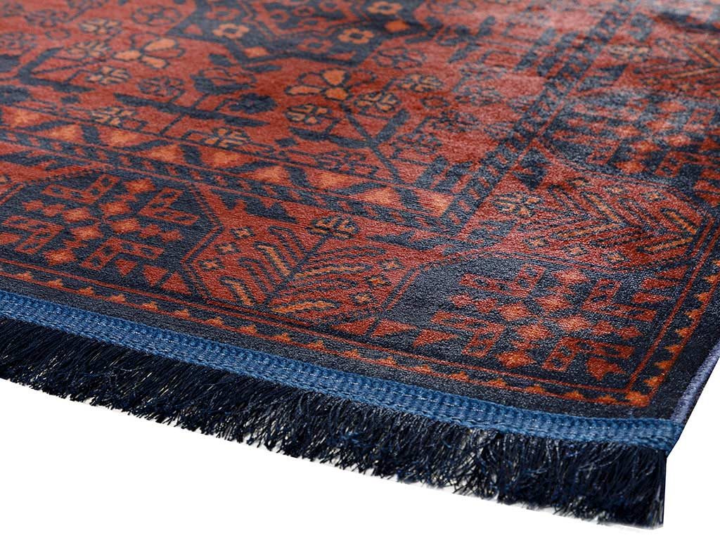 Eliza Carpet 80x150 cm Red - Navy Blue