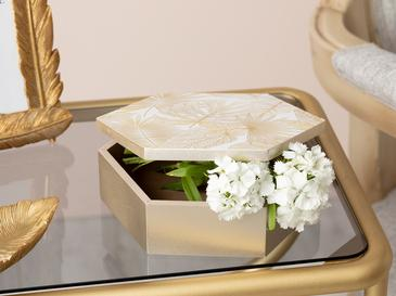 Linear Leaf Decorative Box 15x17x5,5 Cm Cream