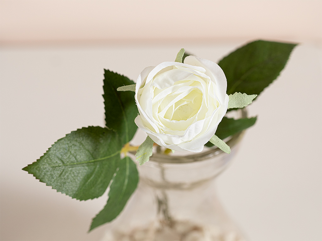 Cypress Fabric Artificial Flower 20 Cm White