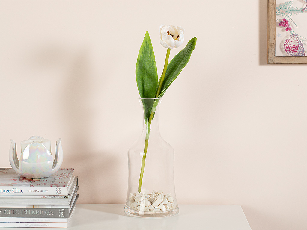 Ragged Orchid Fabric Artificial Flower 39 Cm White