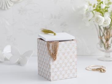 Victoria Decorative Box 10x10x13,5 Cm White