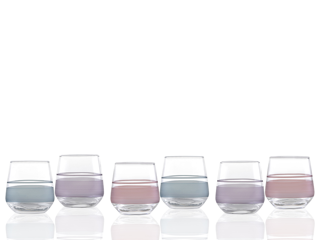 Band Water Glass, 115 ml Colorful