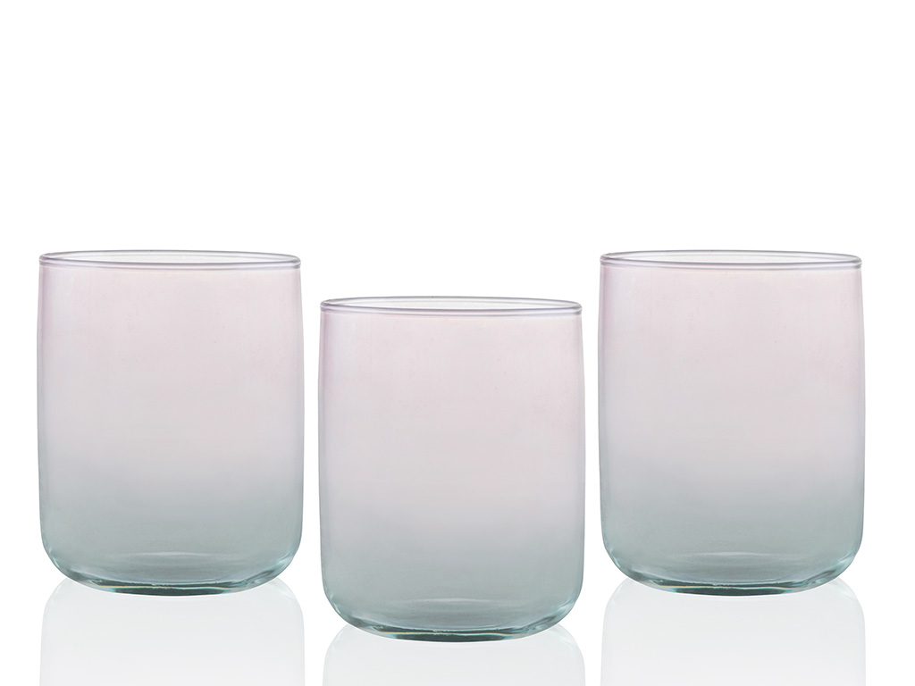 Degetto Juice Glass 3 Piece 270 Ml Green-Pink