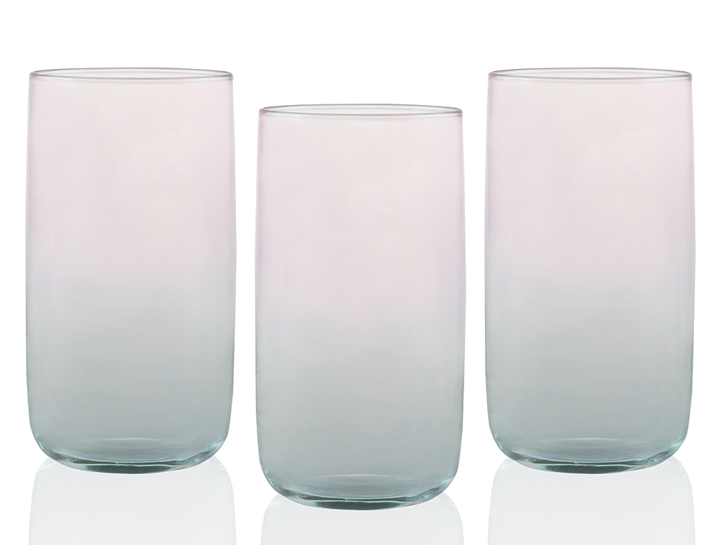 Degetto Juice Glass 3 Piece 365 Ml Green-Pink